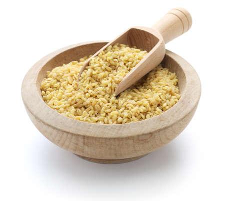 grits: bulgur wheat Turkish food isolated on white background Stock Photo