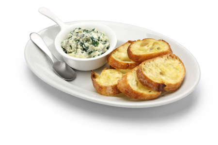 fresh spinach: artichoke spinach dip healthy vegetarian food isolated on white background Stock Photo