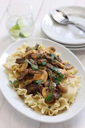 beef stroganoff: beef stroganoff with pasta russian cuisine Stock Photo