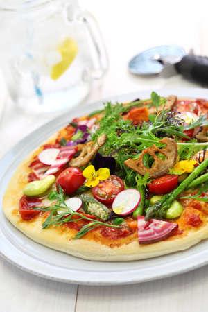 健康な野菜ピザ ベジタリアン料理 写真素材