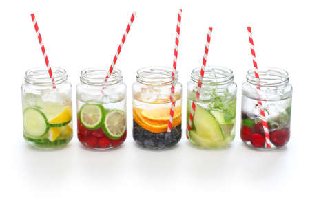 infused: Detox water on white background body cleanse and burn fat
