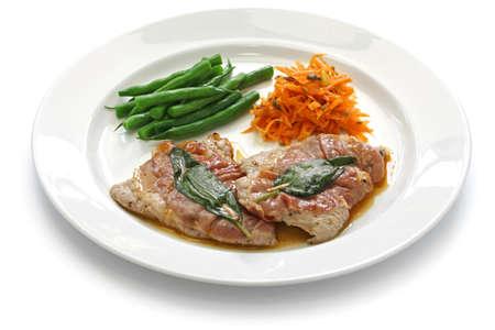 romana: saltimbocca alla romana veal sauteed prosciutto and sage italian cuisine Stock Photo