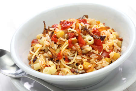 short pasta: kushari koshari egyptian food isolated on white background