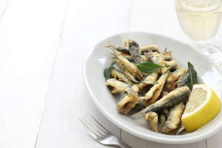 fresh fish: deep fried anchovies boquerones fritos acciughe fritte