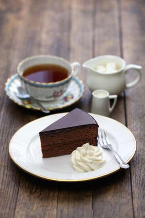 austrian: homemade sachertorte Austrian chocolate cake and tea