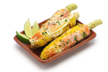Mexican grilled corn elote isolated on white background