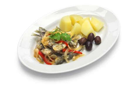 marinated: carapaus de escabeche, marinated fried horse mackerel Stock Photo