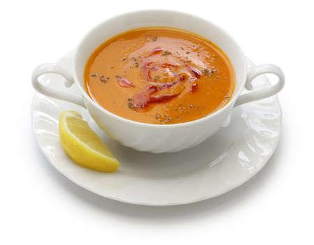 beans soup: Red lentil soup, mercimek corbasi turkish cuisine