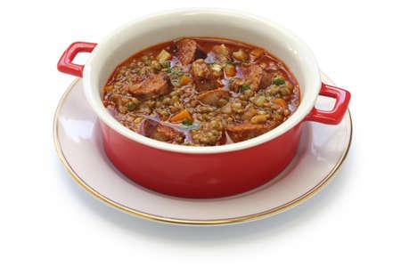chorizo: lentil and chorizo soup, spanish cuisine, lentejas con chorizo