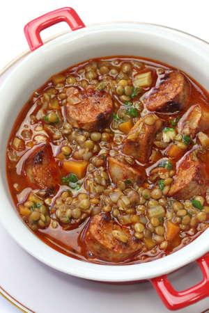 sausage pot: lentil and chorizo soup, spanish cuisine, lentejas con chorizo
