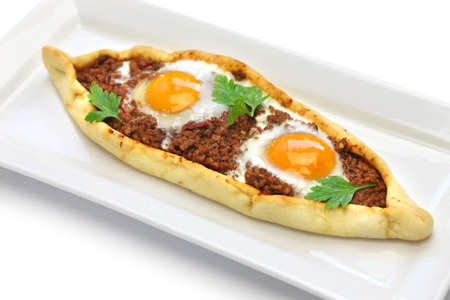 mince meat pide, traditional turkish pizza isolated on white background
