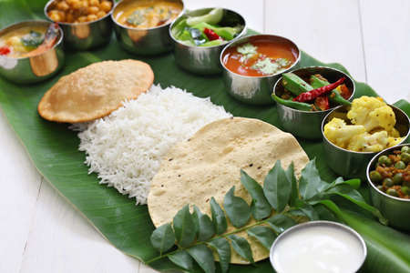south indian meals on banana leaf