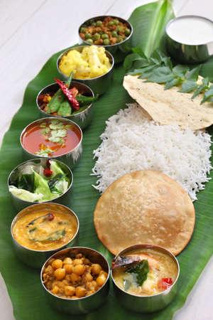 バナナの葉で南インドの食事 写真素材