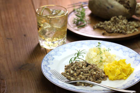 neeps: haggis neeps tatties and scotch whisky, scotland traditional food