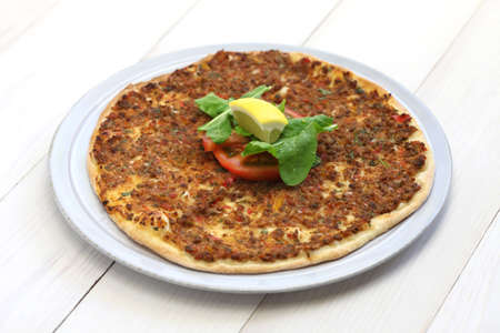 minced meat: turkish minced meat pizza, lahmacun Stock Photo