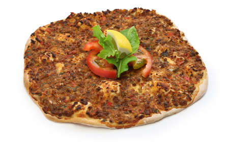 carne macinata: turkish minced meat pizza, lahmacun Archivio Fotografico