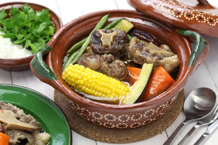 Mole de olla, mexican spicy beef and vegetable stew