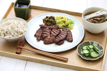 comida japonesa: carne a la parrilla lengua establecer comida, Sendai Gyutan teishoku, comida japonesa