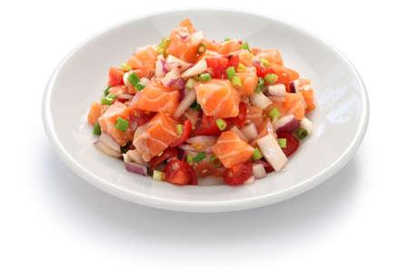 Lomi lomi salmon, hawaiian raw salmon salad