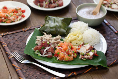 hawaiian: hawaiian traditional plate lunch