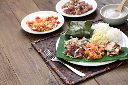 close up food: hawaiian traditional plate lunch