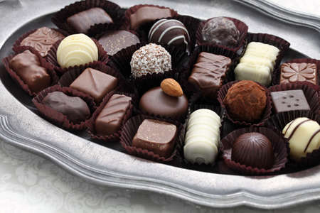 variety: assorted chocolate on pewter dish