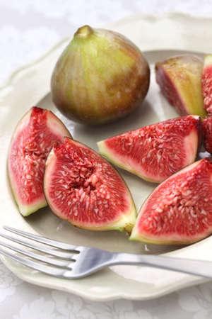 Japanese fresh figs cut open, autumn dessert 写真素材