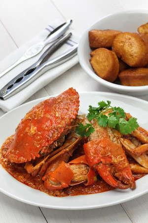 chilli mud crab with fried mantou, singapore cuisine