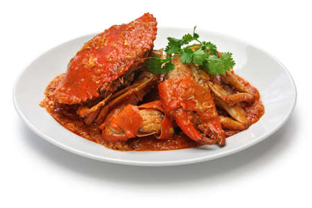 spicy chilli: singapore chili crab isolated on white background Stock Photo