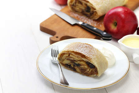 isolated on white: homemade apfelstrudel, apple strudel, and austrian germany food Stock Photo