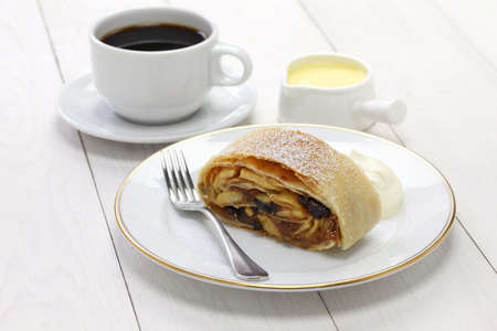filo pastry: homemade apfelstrudel, apple strudel, and austrian germany food Stock Photo