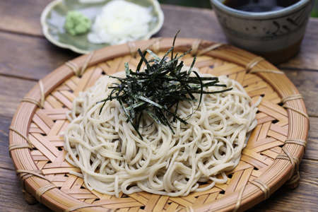buckwheat noodle: Zaru soba cold buckwheat noodles topping with nori, japanese food