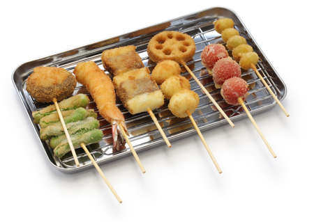 kushiage deep fried food on a stick, japanese food
