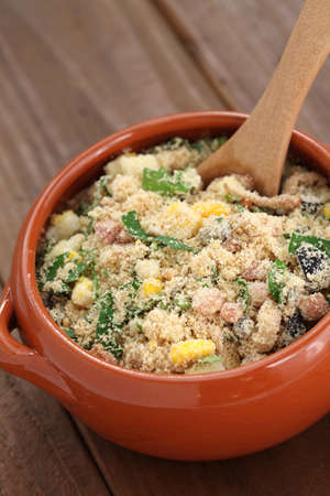 toasted: farofa, toasted cassava flour, the brazilian food Stock Photo