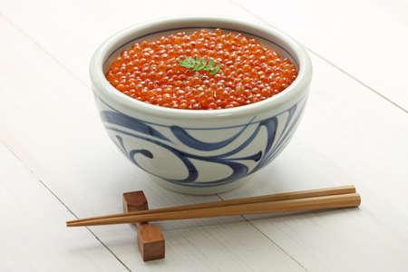japanese food: salmon roe bowl, ikura don, japanese food