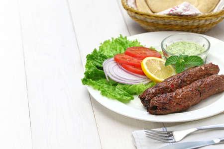 kabab: mutton seekh kabab with mint chutney Stock Photo