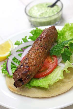 kabab: mutton seekh kabab kebab sandwich with mint chutney