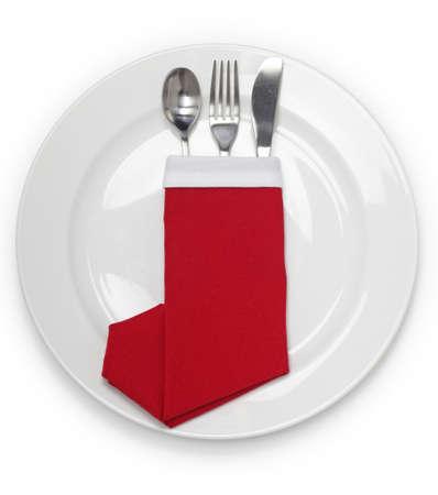 Christmas dinner, table setting Stock Photo