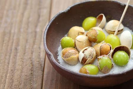 japanese food: salt roasted ginkgo nuts and japanese food