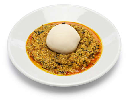 egusi soup and pounded yam, nigerian cuisine isolated on white background Stok Fotoğraf
