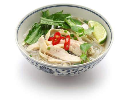 noodles: PHO ga, vietnamese chicken rice noodle soup isolated on white background