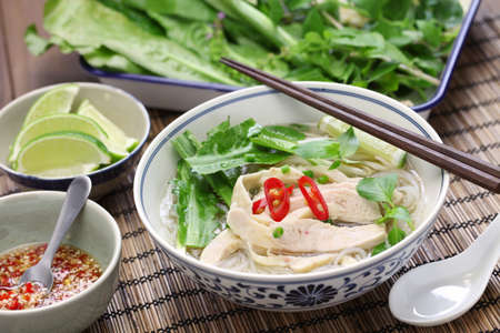 diet dinner: PHO ga, vietnamese chicken rice noodle soup
