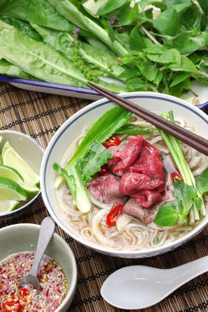 vietnamese food: bo Pho, vietnamese beef rice noodle soup Stock Photo