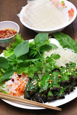 piper: grilled minced beef wrapped in betel leaf, vietnamese cuisine Stock Photo