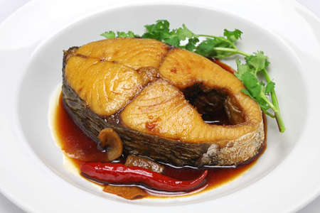 red braised: thu CA kho, king mackerel simmered in caramelized sauce, vietnamese cuisine