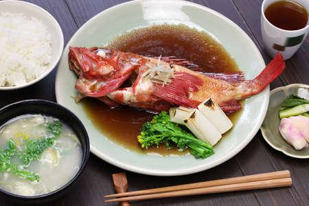japanese cuisine: simmered fish set meal, japanese cuisine