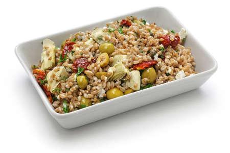 italian cuisine: spelt salad, insalata di farro, italian cuisine isolated on white background Stock Photo