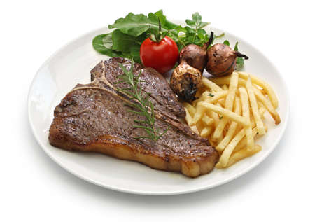 t-bone steak, porterhouse steak, bistecca alla fiorentina isolated on white background Stok Fotoğraf