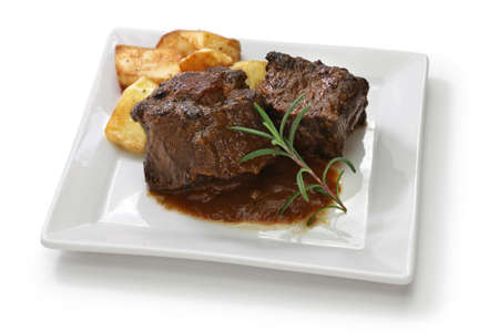 oxtail stew with potato, rabo de toro estofado con patatas, spanish cuisine Stok Fotoğraf