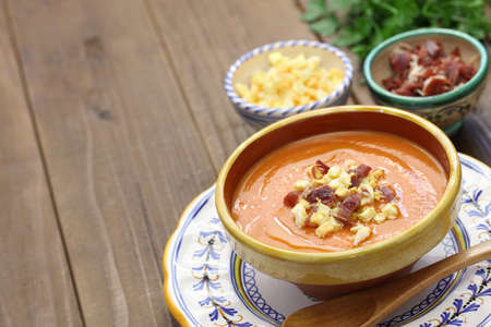 andalusian cuisine: Salmorejo, chilled tomato soup, spanish food